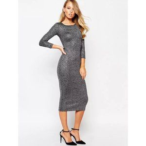 NEW French Connection Bianca Lurex Midi Dress 8